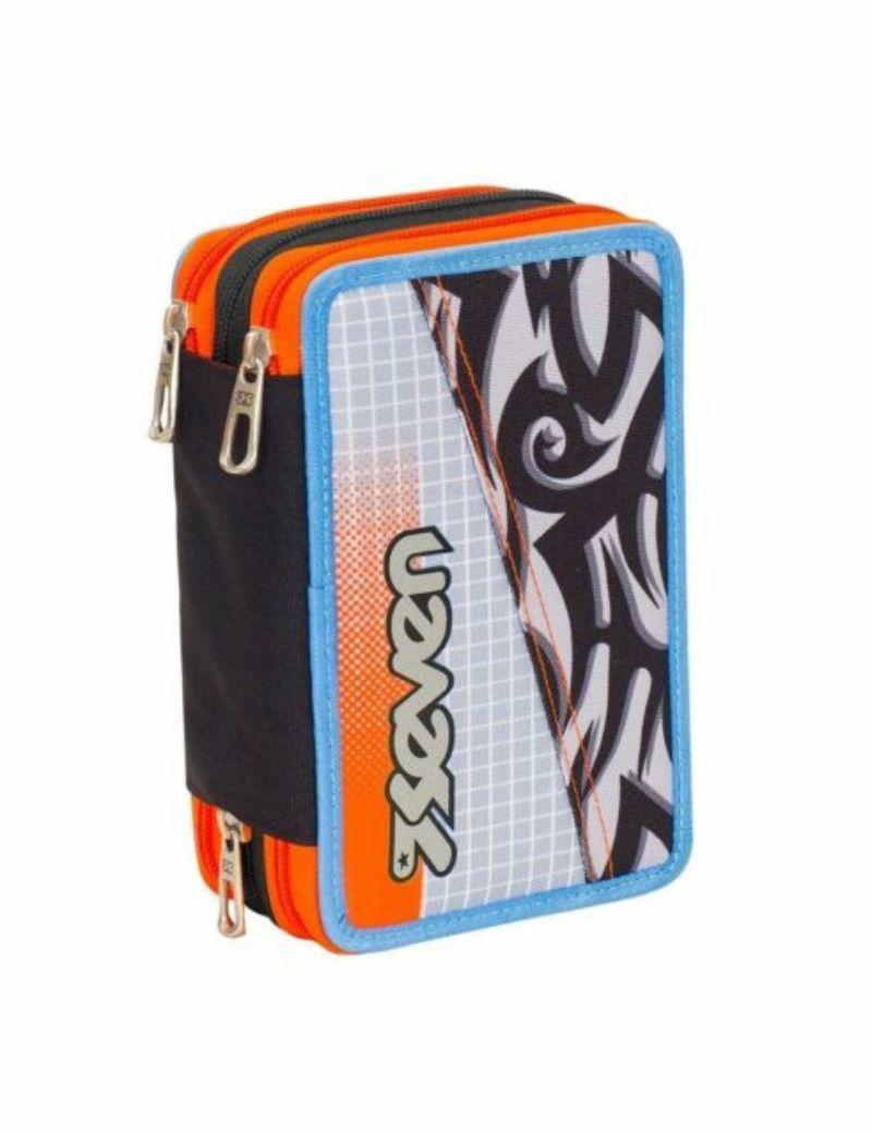 astuccio-3-zip-seven-tribal-boy-grigio-chiaro-e-arancio